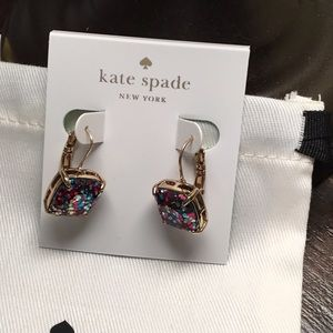 NWOT Kate Spade Multi Glitter Leverback Earrings
